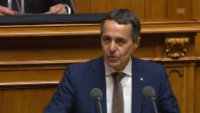 Link öffnet eine Lightbox. Video Ignazio Cassis' Antrittsrede für das Amt des Bundesrats abspielen