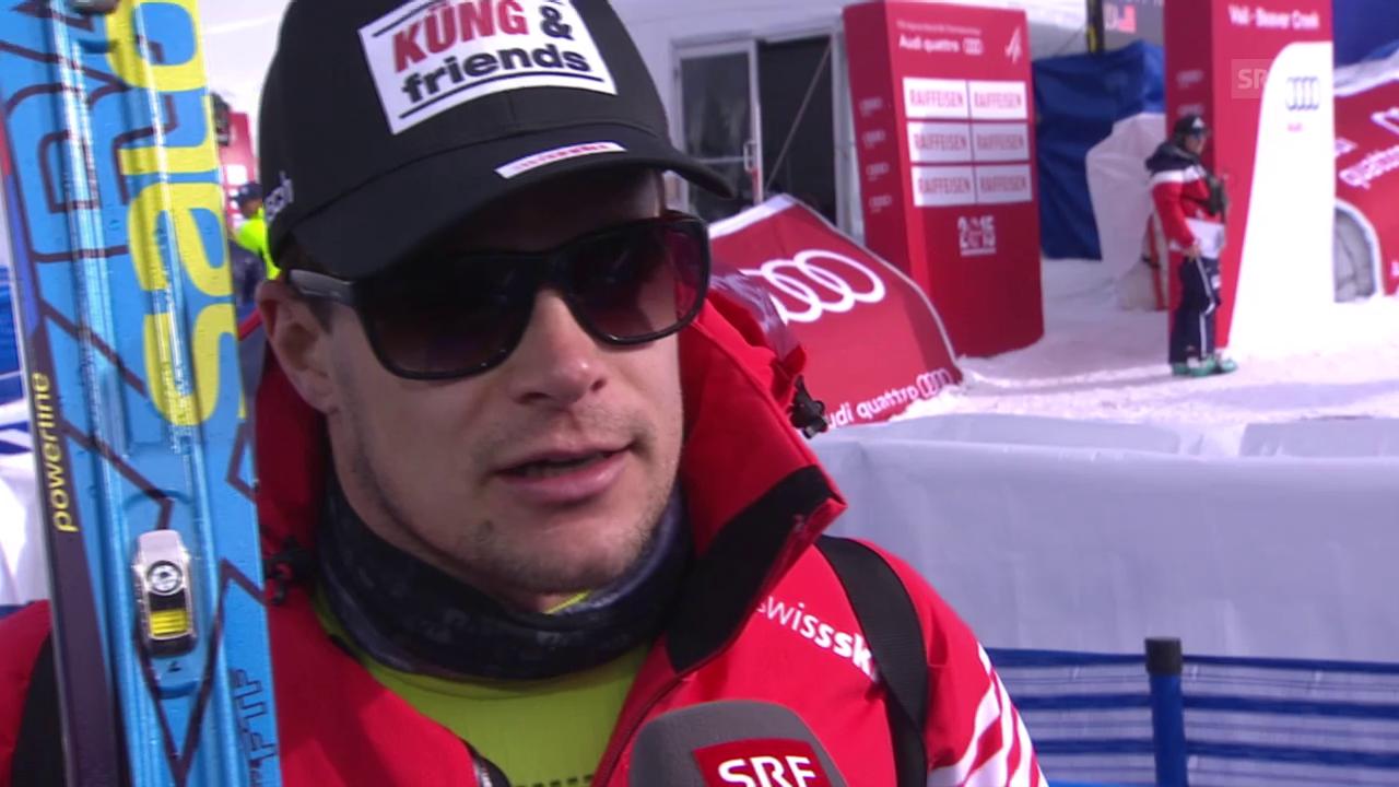 Ski: WM, Patrick Küng Interview nach 1. Training Abfahrt