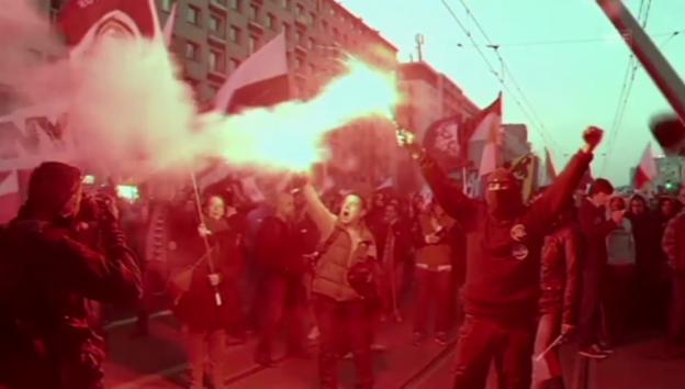 Video «Ausschreitungen in Warschau» abspielen