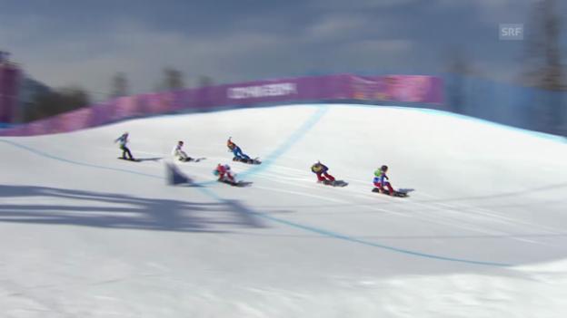 Video «Boardercross: Viertelfinal mit Simona Meiler (sotschi direkt, 16.02.2014)» abspielen