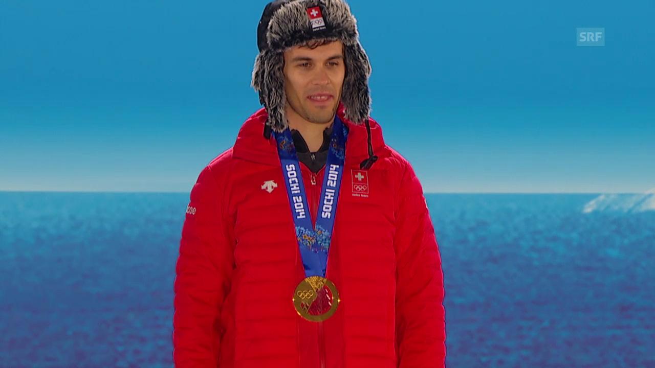 Ski: Siegerehrung mit Sandro Viletta (sotschi direkt, 15.02.2014)