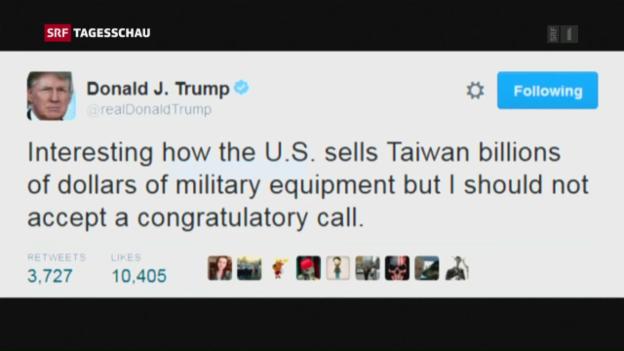 Video «Trump riskiert Beziehungen zu China» abspielen