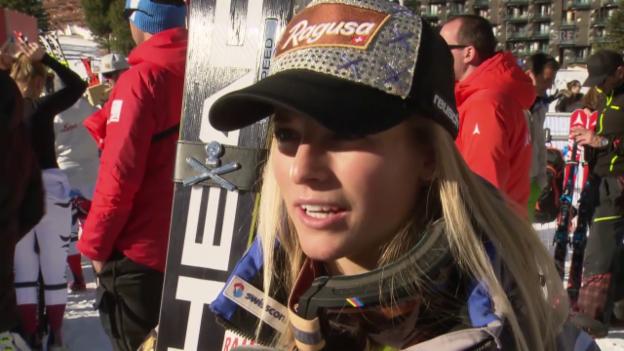 Video «Ski: Abfahrt Val d'Isère, Interview Lara Gut» abspielen