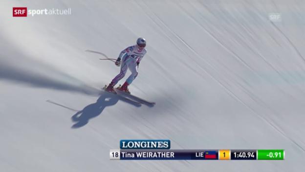 Video «Ski: Tina Weirather mit Abfahrtssieg in Garmisch» abspielen