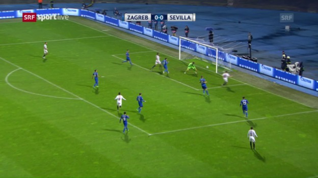 Video «Sevilla feiert knappen Sieg in Zagreb» abspielen