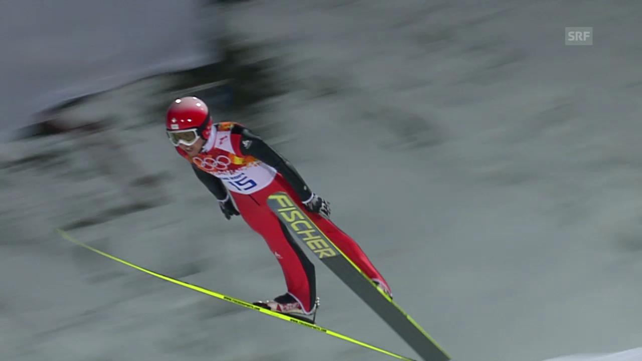 Skispringen: Normalschanze, 2. Sprung Ammann (sotschi direkt, 9.2.2014)
