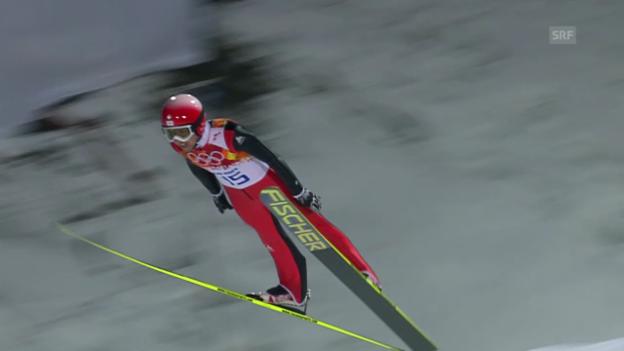 Video «Skispringen: Normalschanze, 2. Sprung Ammann (sotschi direkt, 9.2.2014)» abspielen