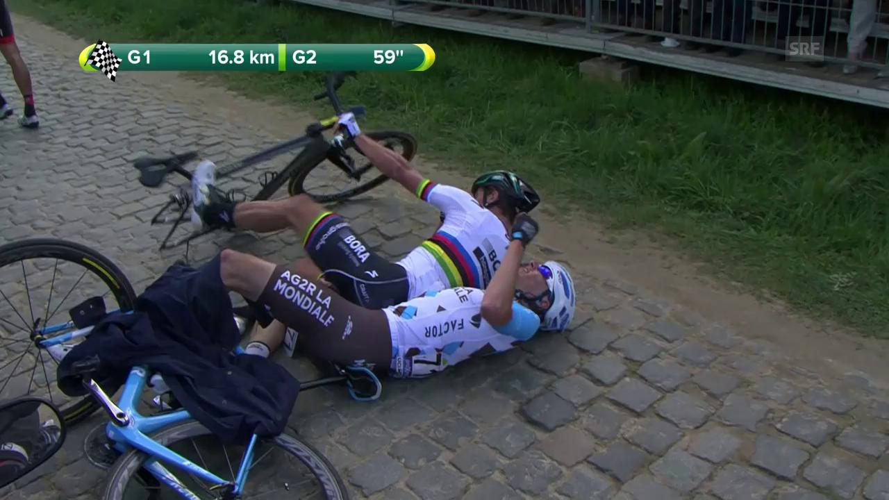 Der Sturz von Sagan und Van Avermaet