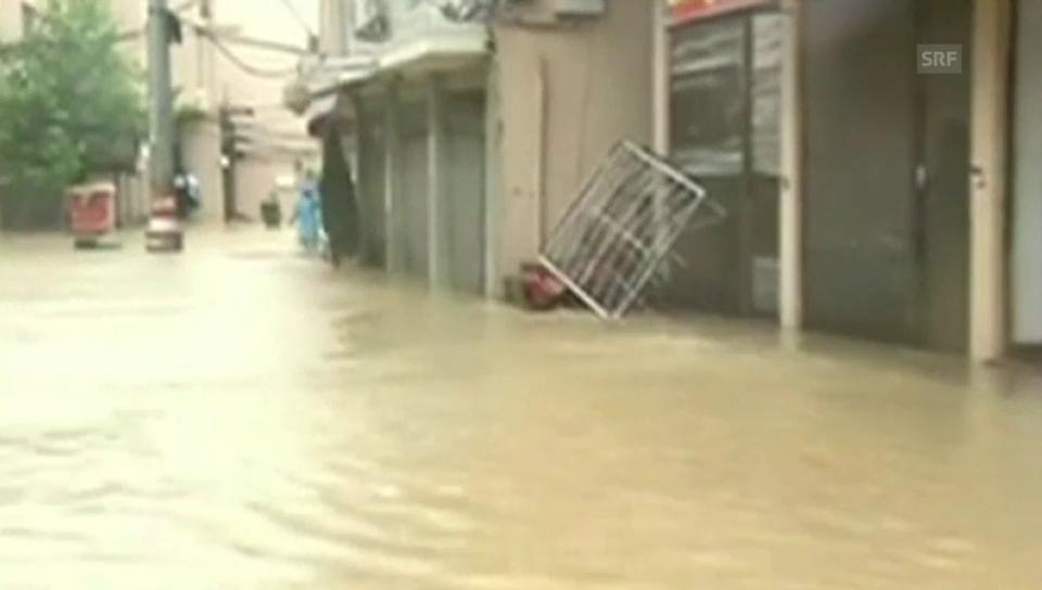 Auch in der Stadt Cangnan hat «Soudelor» den Verkehr lahmgelegt