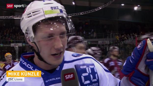 Video «Eishockey: Playoffs 2015, 6. Halbfinal, Genf – ZSC, Interview Mike Künzle» abspielen