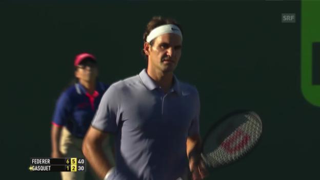 Video «Tennis: ATP-1000 Miami, Achtelfinals, Federer - Gasquet (25.03.2014)» abspielen