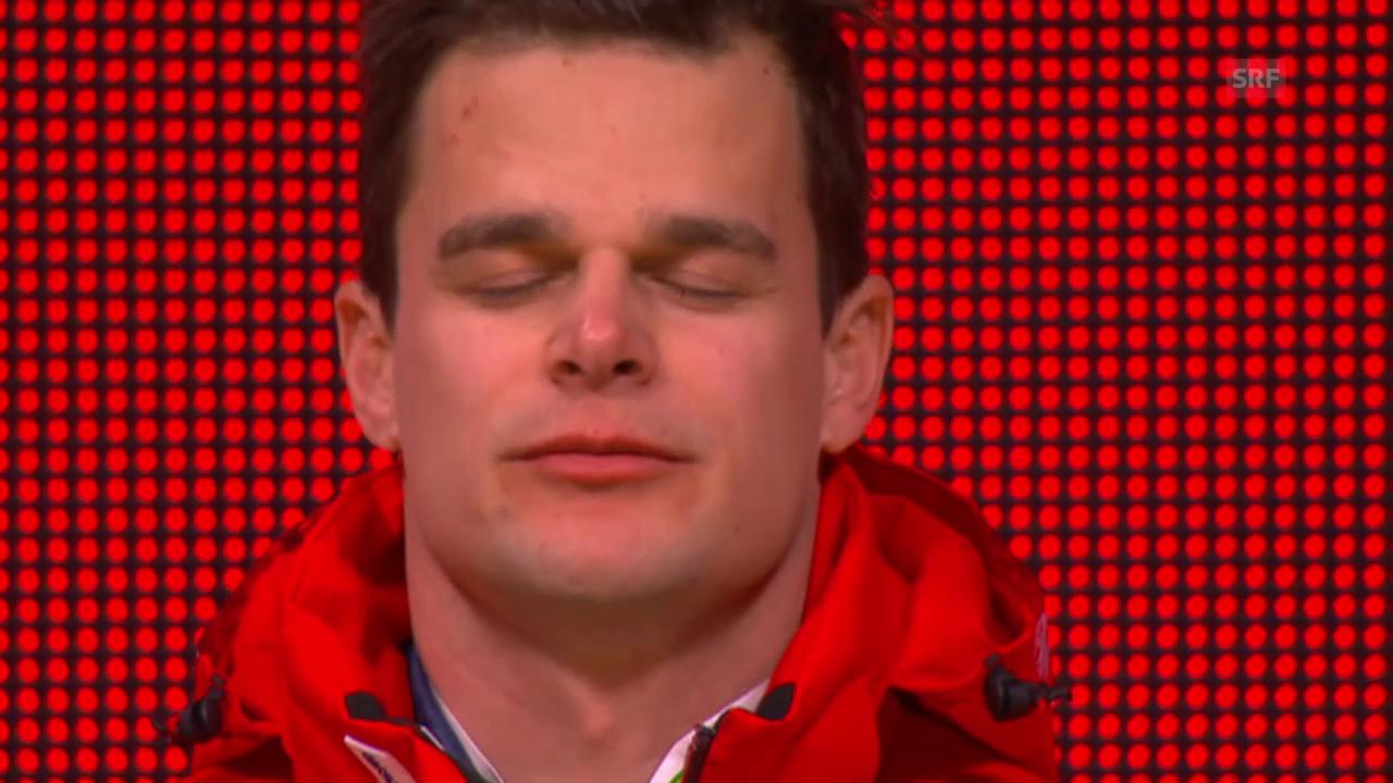 Ski Alpin: WM 2015, Podest Abfahrt, Sieger Patrick Küng