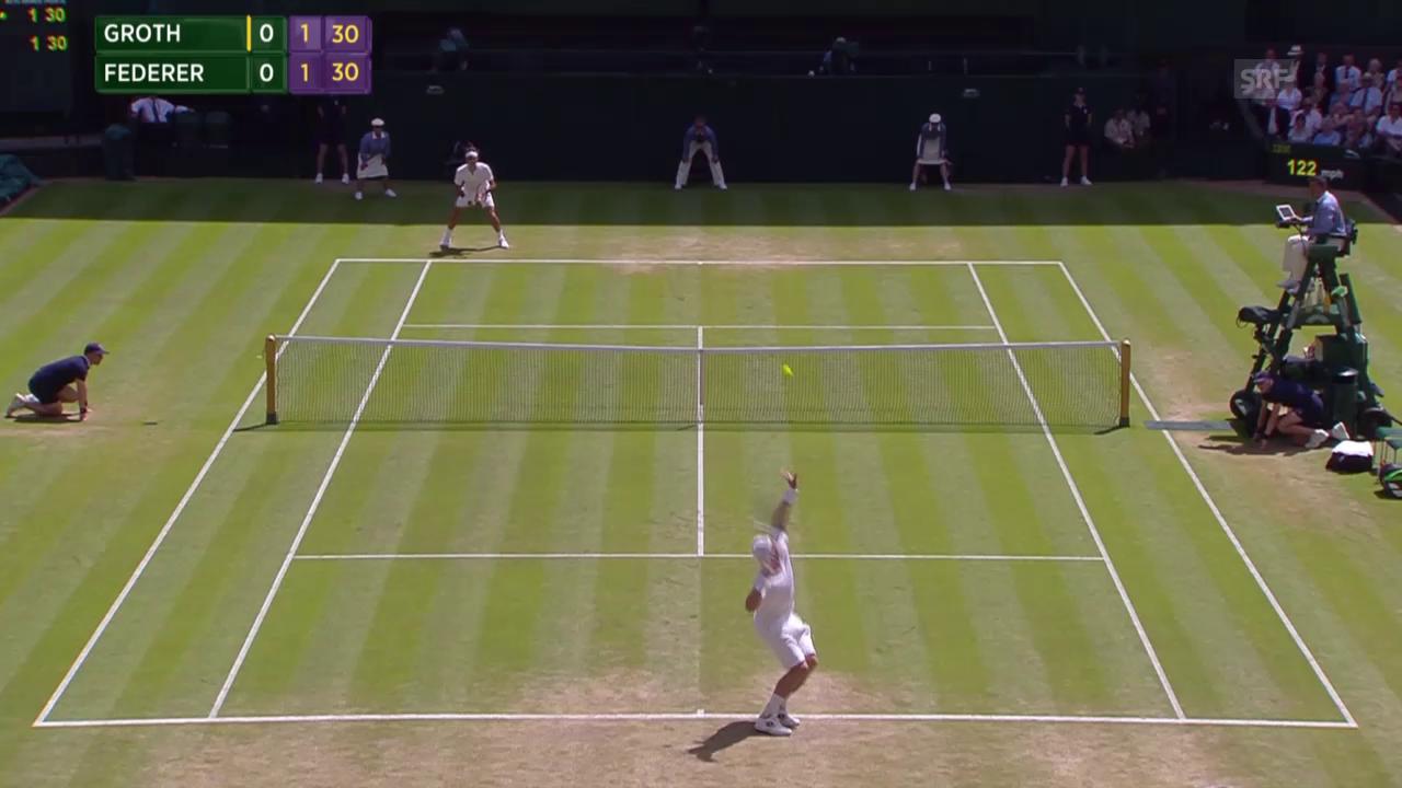 Tennis: Wimbledon, 3. Runde, Groth - Federer, Ass mit 236.5 km/h