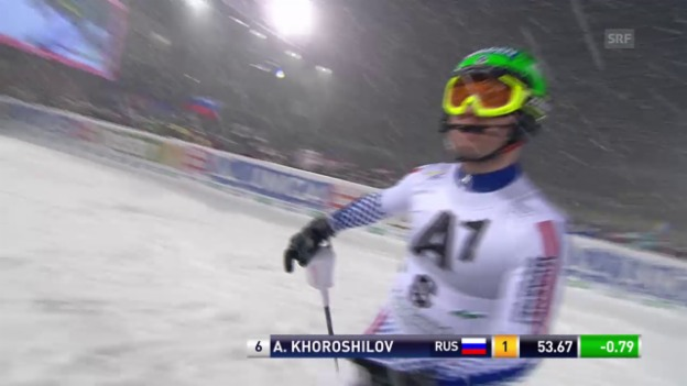 Video «Ski Alpin: Slalom in Schladming, 1. Lauf Horoschilow» abspielen