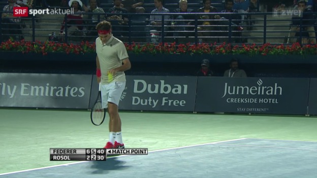 Video «Tennis: ATP Dubai, Federer-Rosol» abspielen