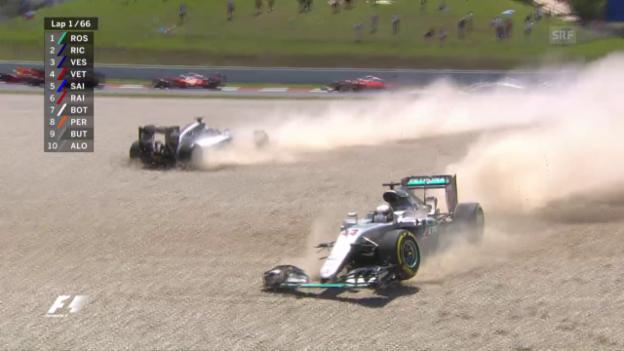 Video «Hamilton und Rosberg schiessen sich gegenseitig ab» abspielen
