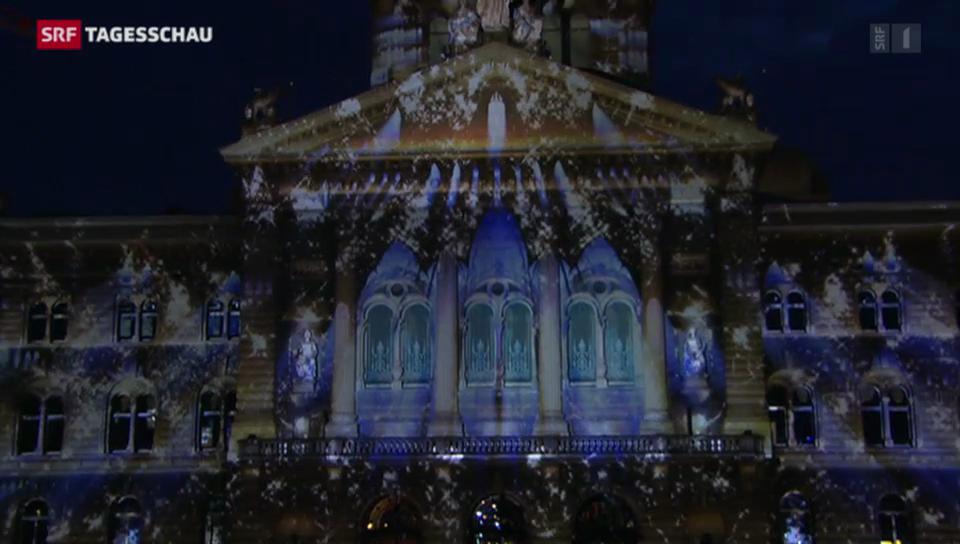 Spektakuläre Lichtshow am Bundeshaus