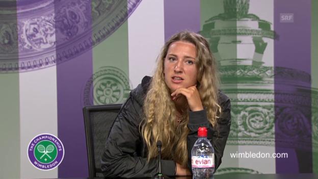 Video «Tennis: Wimbledon 2015, Pressekonferenz mit Victoria Asarenka» abspielen