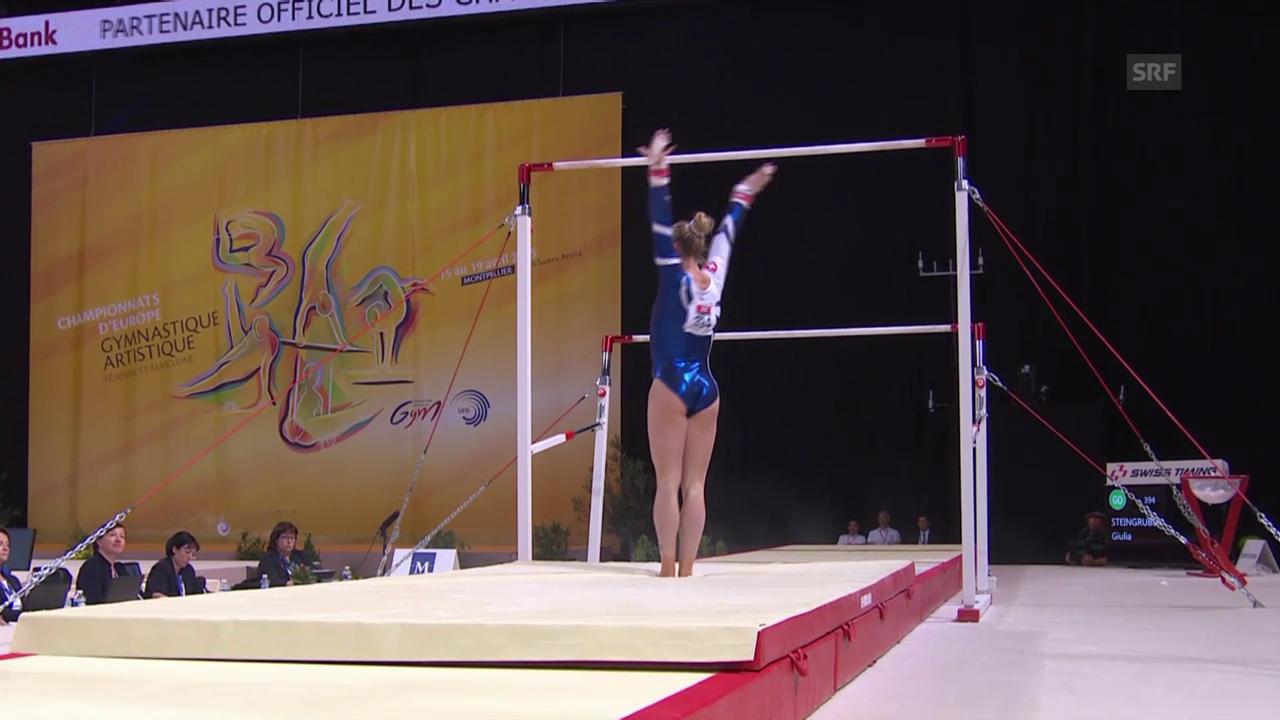 Kusntturnen: EM in Montpellier, Gerätefinals, Giulia Steingruber am Stufenbarren