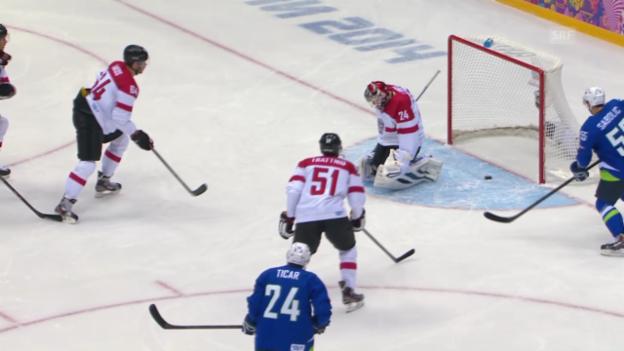 Video «Eishockey: Viertelfinal-Qualifikation Männer, Zusammenfassung Slowenien - Österreich (18.2.2014)» abspielen