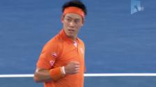 Video «Entscheidende Punkte bei Nishikori-Garcia Lopez an den Australian Open» abspielen