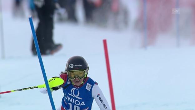 Video «Ski: Slalom Frauen Kühtai, 1. Lauf Holdener» abspielen