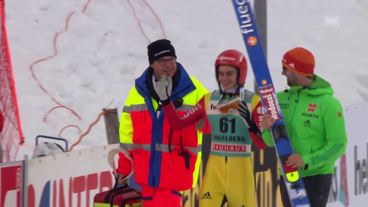 Skispringen: Engelberg, 20.12.2015, Sturz Richard Freitag
