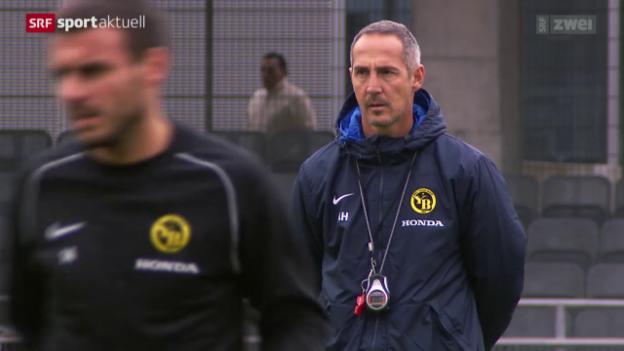 Video «Fussball: YB-Coach Hütter vor dem Duell gegen Basel» abspielen