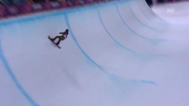 Video «Snowboard-Halfpipe: Final-Run von David Hablützel (sotschi direkt, 11.02.2014)» abspielen