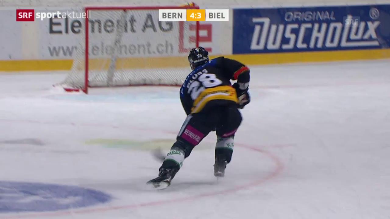 Eishockey: NLA, 28. Runde, Bern-Biel, Chancentod Plüss