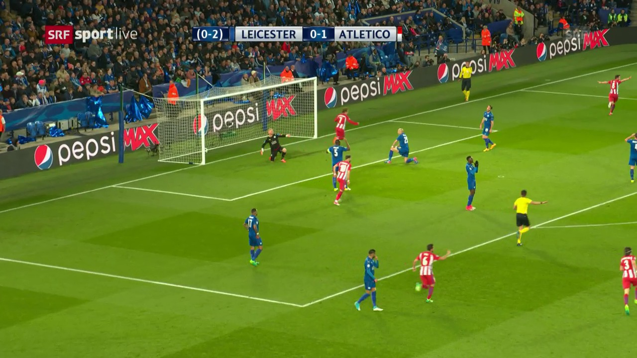 Die Leicester-Abwehr beim 0:1 im kollektiven Tiefschlaf