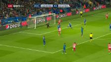 Video «Die Leicester-Abwehr beim 0:1 im kollektiven Tiefschlaf» abspielen
