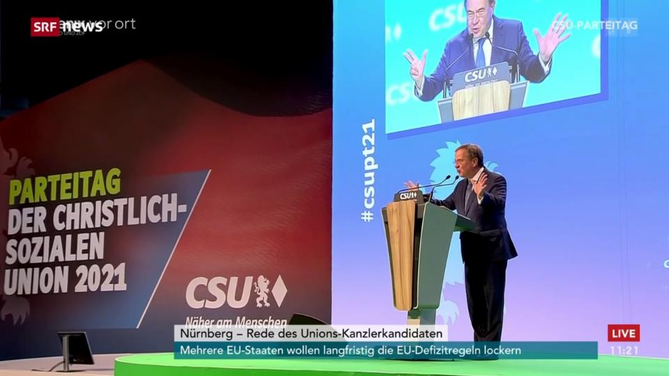 Laschet kritisiert SPD und Grüne in seiner Rede am CSU-Parteitag