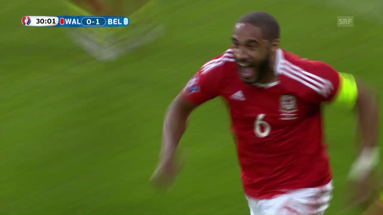 Wales' Ausgleich zum 1:1 durch Ashley Williams