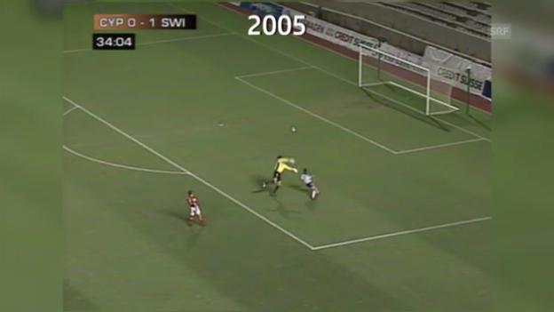 Video «Fussball: Aloneftis Tor gegen die Schweiz» abspielen