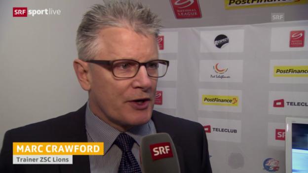 Video «Eishockey: Playoffs 2015, 6. Halbfinal, Genf – ZSC, Interview Marc Crawford» abspielen