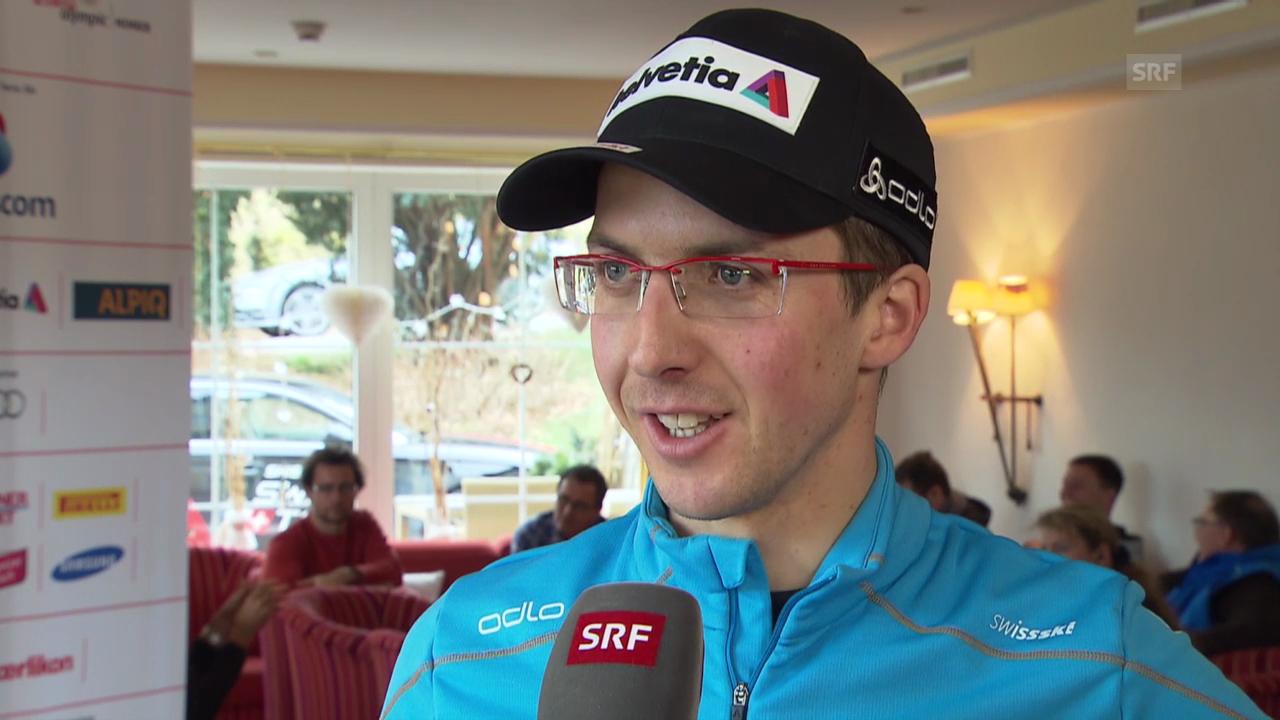 Simon Ammann über die Schanze in Innsbruck