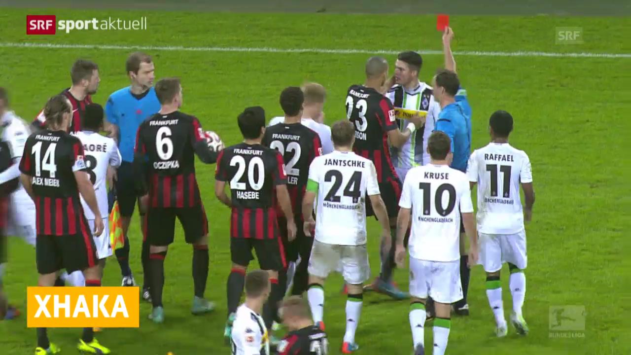 Fussball: Bundesliga, Granit Xhaka fliegt vom Platz