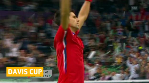 Video «Tennis: Davis-Cup-Final Serbien - Tschechien («sportaktuell»)» abspielen