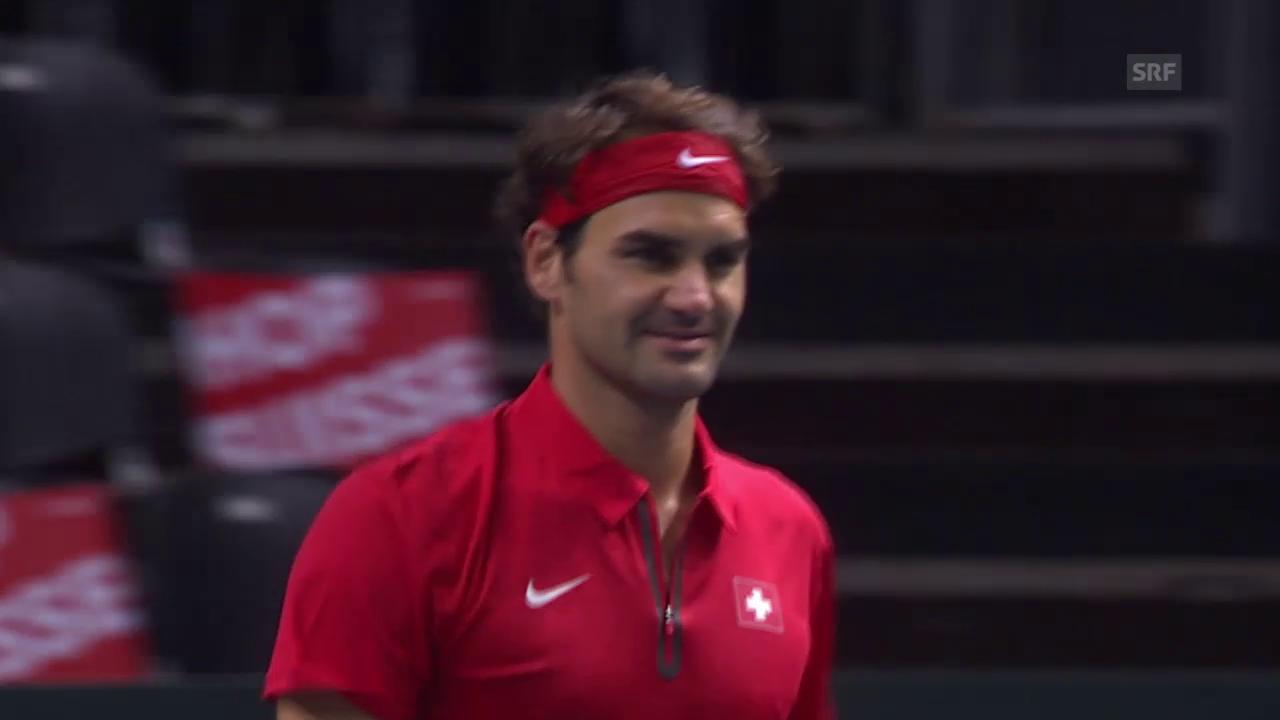 Tennis: Davis-Cup, Matchball Federer - De Bakker
