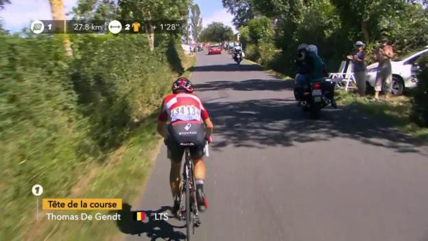 Video «So fuhr De Gendt auf der 14. Etappe voraus» abspielen