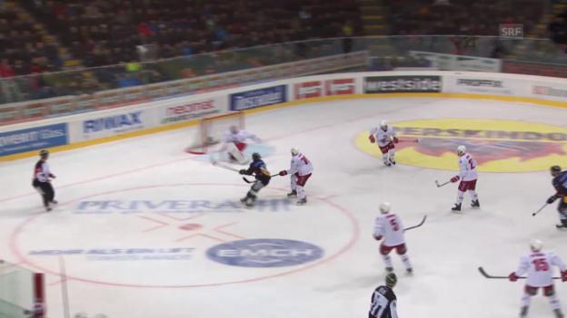 Video «Eishockey: Playoff-Viertelfinals, Spiel 3 Bern - Lausanne, Eric Blums Treffer zum 1:0» abspielen