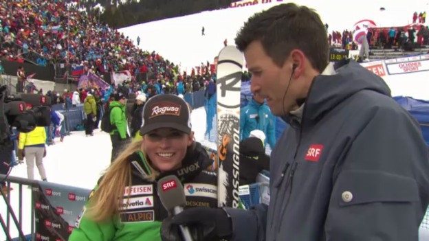 Video «Ski: Riesenslalom Lenzerheide, Interview mit Lara Gut» abspielen