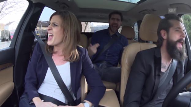 Video «Beifahrer-Karaoke mit Cornelia Boesch, Manu Burkart und Andi Rohrer» abspielen