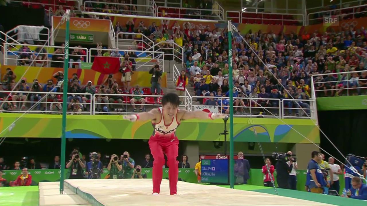 Uchimura ergattert in extremis Gold im Mehrkampf
