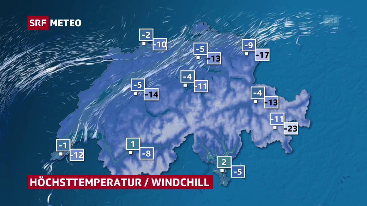 Höchsttemperatur und Windchill am Montag