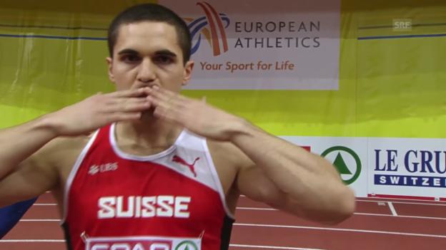 Video «Leichtathletik: Hallen-EM Prag, Final 60 m Männer, Pascal Mancini» abspielen