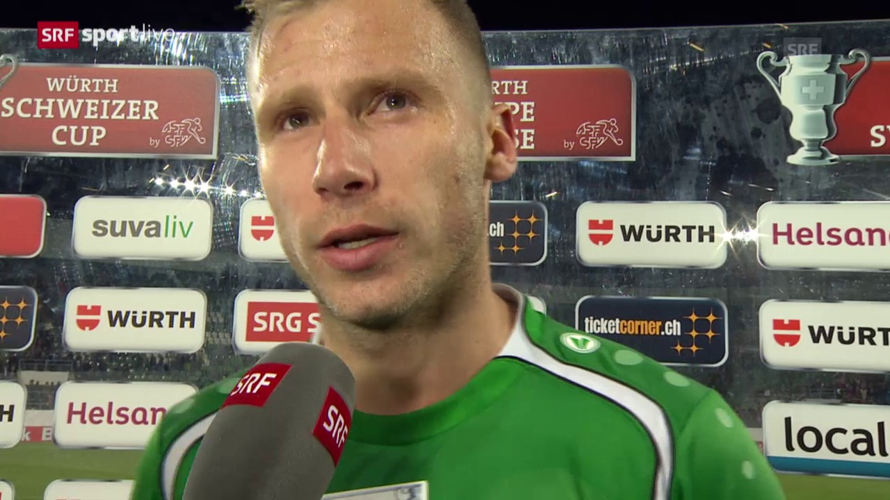Fussball: Cup, St. Gallen - Basel, Interview mit Dzengis Cavusevic