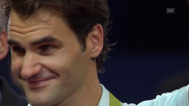 Video «Federer bei Finalisten-Ehrung zu Tränen gerührt» abspielen
