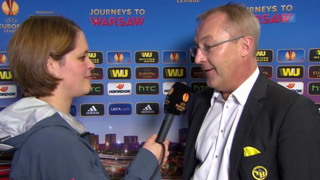 Video «Fussball: Europa League, Auslosung der Sechzehntelfinals, YB-Sportchef Freddy Bickel im Interview» abspielen
